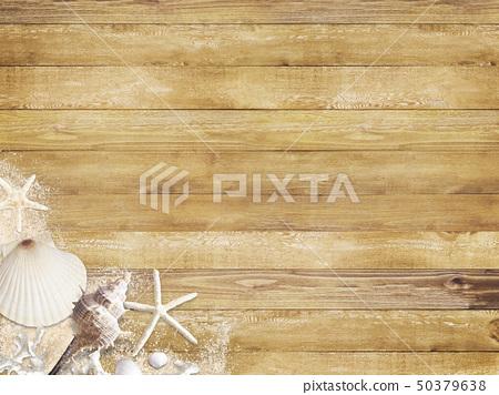 背景 - 海 - 夏天 - 海灘 - 貝殼 - 沙子木甲板 50379638
