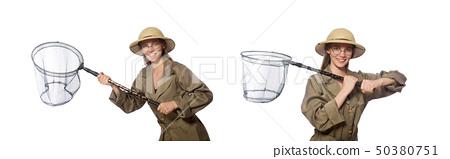Woman wearing safari hat on white 50380751