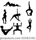 Silhouettes of girl practicing yoga 50381581