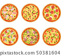Set of pizza with different ingredients 50381604