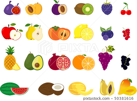 Set of different kinds of fruits icons 50381616