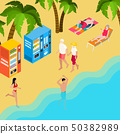 Pensioners Beach Holiday Isometric Illustration 50382989