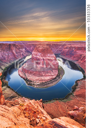 Horseshoe Bend on the Colorado River at sunset 50383336