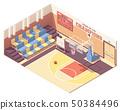Vector isometric gymnasium basketball court 50384496