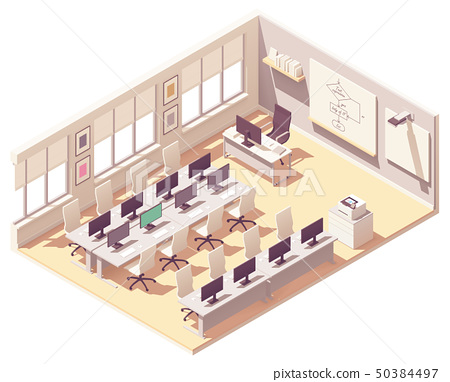 Vector isometric computer lab classroom 50384497