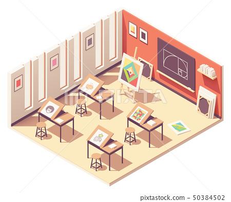 Vector Isometric School Art Classroom Stock Illustration 50384502 Pixta