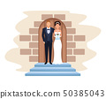 wedding couple in chapel door 50385043