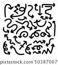 doodle hand drawn arrows set. Black arrows  50387007