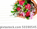 Fresh, lush bouquet of colorful flowers on white 50390545