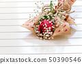 Fresh, lush bouquet of single Rose and Gypsophila 50390546