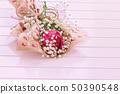 Fresh, lush bouquet of single Rose and Gypsophila 50390548