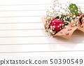 Fresh, lush bouquet of single rose on white 50390549