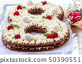 Big number cake shape of 8 decorated white 50390551