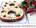 Big number cake shape of 8 decorated white 50390553
