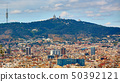 Top view of Barcelona from Montjuic hill in cloudy day. Catalonia 50392121
