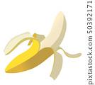 被剝皮的香蕉香蕉的例證|果子食物|傳染媒介數據 50392171
