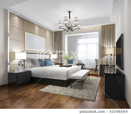 luxury modern bedroom suite in hotel 50396064
