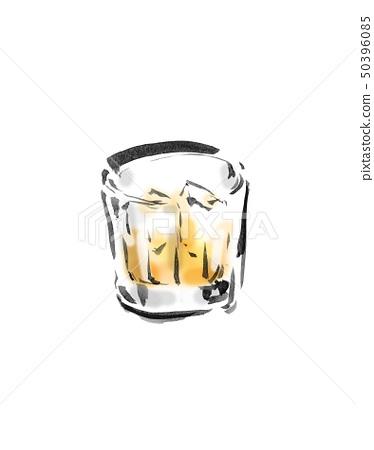 Drink, liquor, drink, liquor, whiskey, water split, water split, glass, white background, white background, hand-painted, handwriting, writing brush 50396085