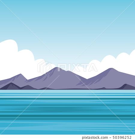 flat sea landscape cartoon 50396252