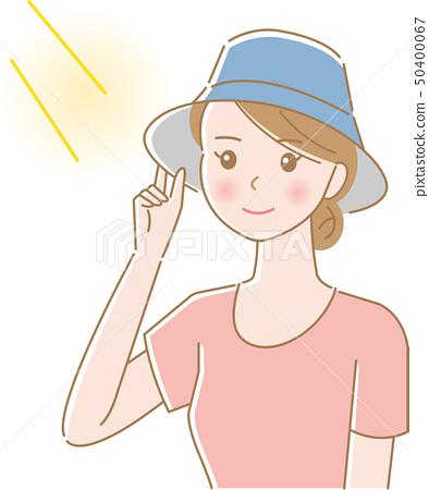 Woman wearing a hat UV 50400067