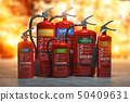 Fire extinguishers on a fire background.  50409631