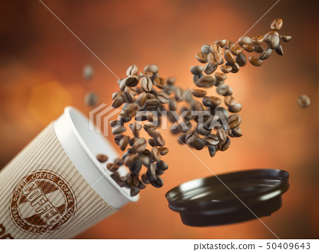 Coffee take away paper cup with coffee beans  50409643