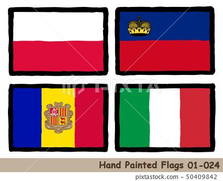 """手繪國旗圖標""""波蘭國旗""""""""列支敦士登國旗""""""""安道爾國旗""""""""意大利國旗 50409842"""