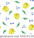 Watercolor seamless pattern with lemon, blueberry 50414110