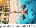 Aerial view of beautiful hotel in Indian ocean 50414217
