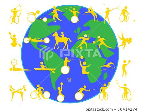 장애인 스포츠를 포함한 아이콘 세트. 도쿄 올림픽, 장애인 올림픽 경기 종목의 목록입니다. 50414274