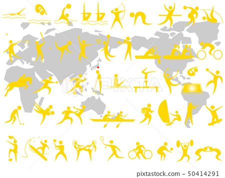장애인 스포츠를 포함한 아이콘 세트. 도쿄 올림픽, 장애인 올림픽 경기 종목의 목록입니다. 50414291