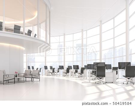 Modern white curve office 3d render 50419584