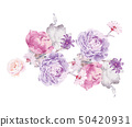 Computer drawn abstract peony flower rose flower illustration 50420931