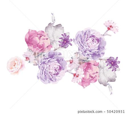 電腦繪製的抽象牡丹花玫瑰花花卉插畫 50420931