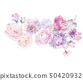 Computer drawn abstract peony flower rose flower illustration 50420932