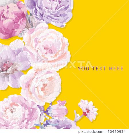 電腦繪製的抽象牡丹花玫瑰花花卉插畫 50420934