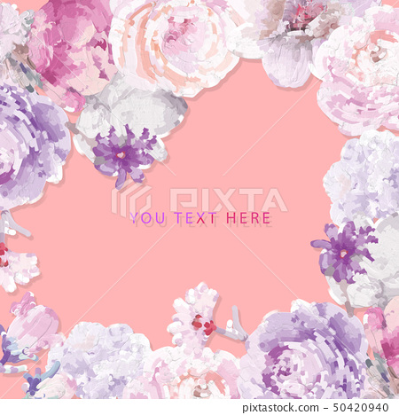 電腦繪製的抽象牡丹花玫瑰花花卉插畫 50420940