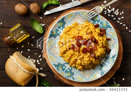 Risotto with a pumpkin and bacon 50421555