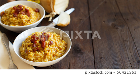 Risotto with a pumpkin and bacon 50421563