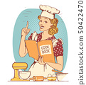 Young woman chef in retro style clothes cooking 50422470