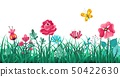 Floral grass border. Green flowers spring field, summer meadow nature, panorama herbs macro element 50422630