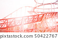 Colorful Looping Roller Coaster On A Beautiful Sunny Day 50422767