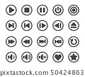 media player button icon set 50424863