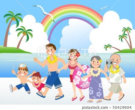 三代家庭出去度假 50429604