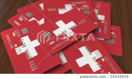 Credit Cards With Flag Of Switzerland