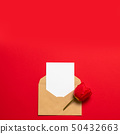 Minimalist card mockup with red tulip, craft 50432663