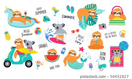 Summer fun illustration with cute characters of koalas and sloths, having fun. Pool, sea and beach 50432827