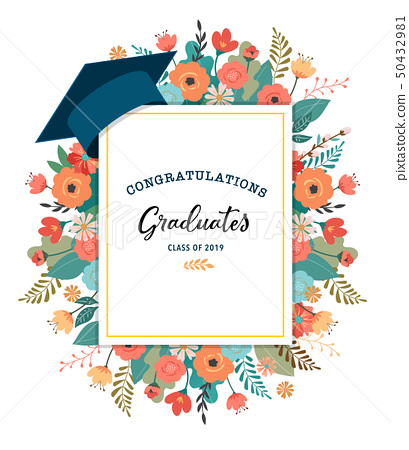 Graduate class of 2019. Caps and flowers on a white background. Vector illustration, banner design 50432981
