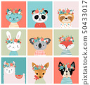 Cute foxes heads with flower crown, vector seamless pattern design for nursery, poster, birthday 50433017