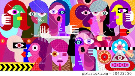 Group of strange people vector illustration 50435350
